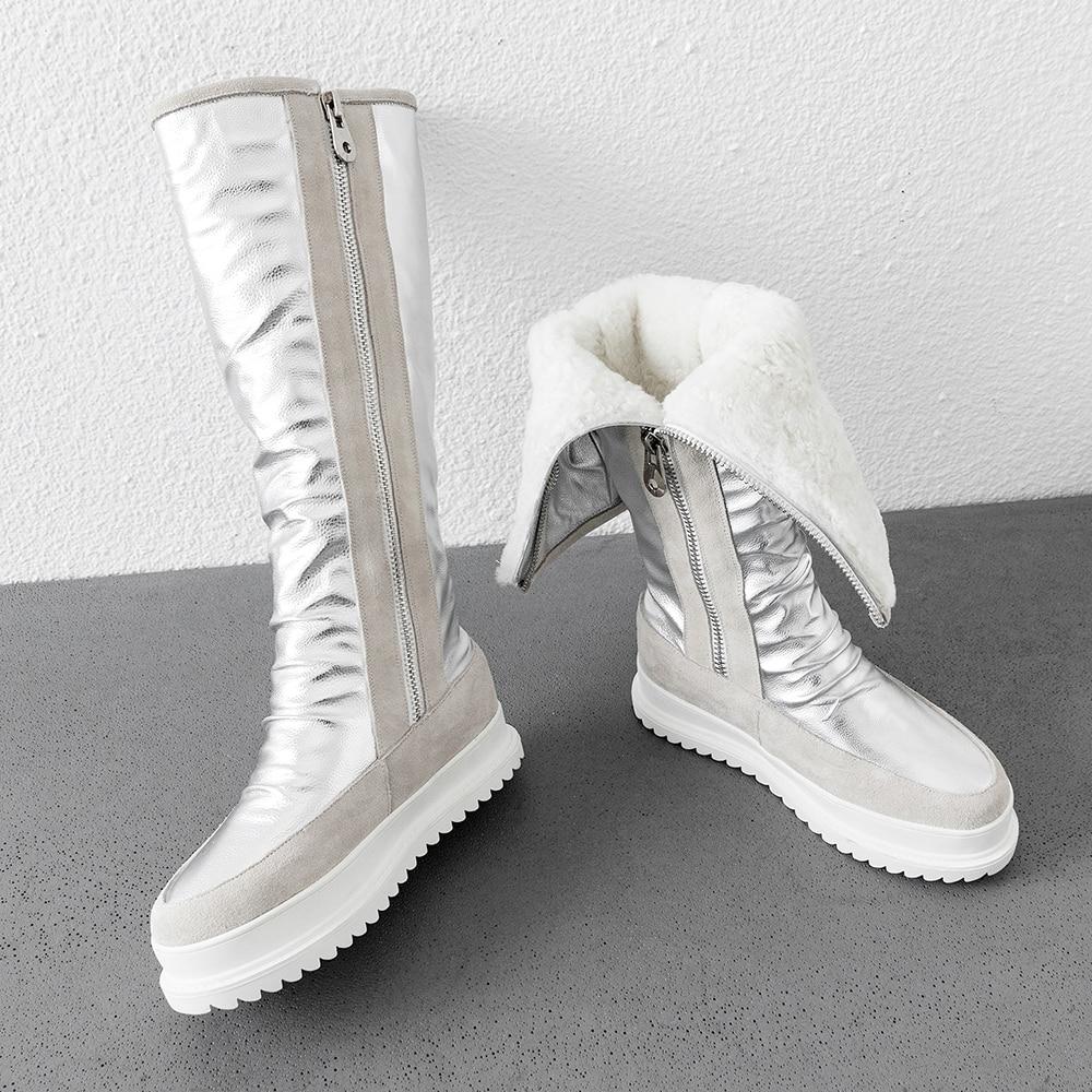 Grande taille 34 43 en cuir véritable femmes bottes d'hiver chaud en peluche fourrure bottes de neige femmes fermetures à glissière plate forme Botas Mujer chaussures de neige bottes - 6