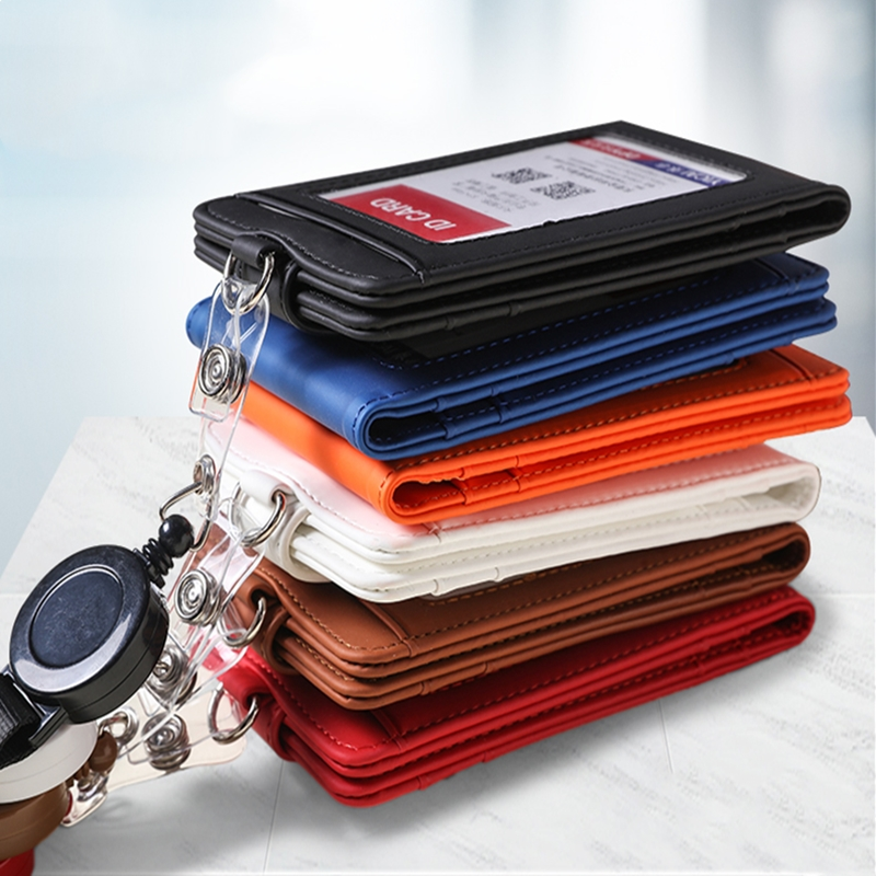 1pc Retractable Badge Lanyard Work Name Business Card Cover Card Holder PU Leather Card Wallet