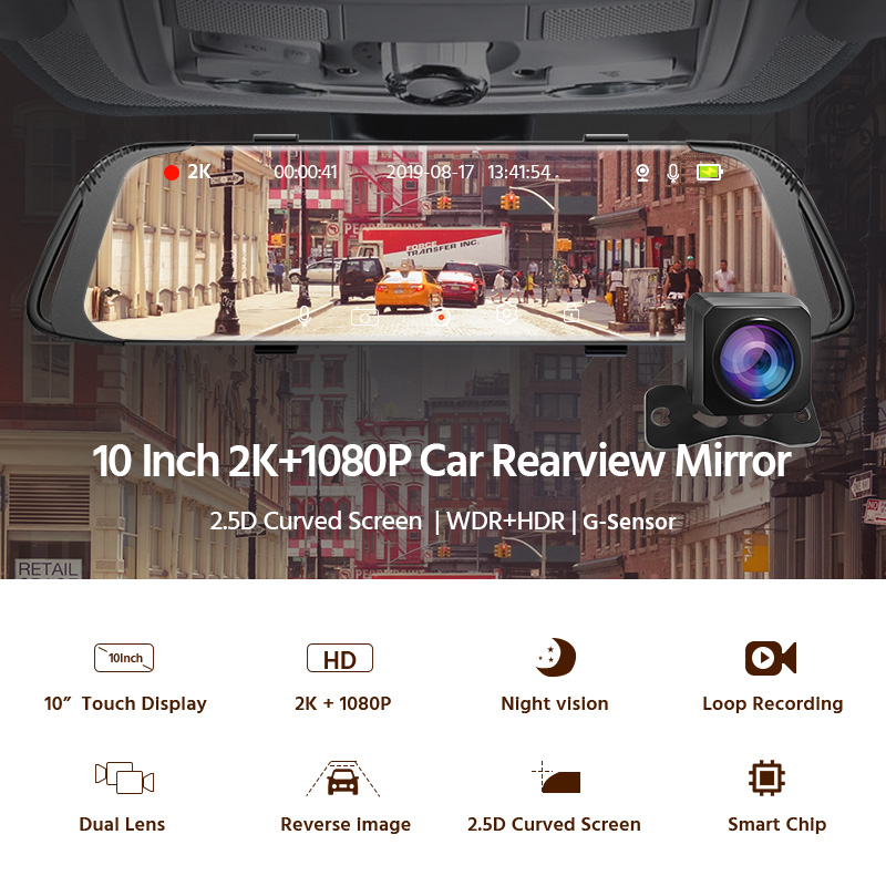 Image 2 - E ACE Car Dvr 2K Stream Media RearView Mirror Touch FHD 1080P Dual Lens Video Recorder Night Vision Auto Registrator Dashcam-in Power Adapter from Automobiles & Motorcycles