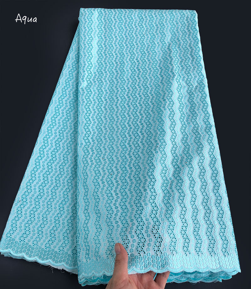 plain aqua soft polish cotton lace for men African voile lace Swiss fabric High quality 5
