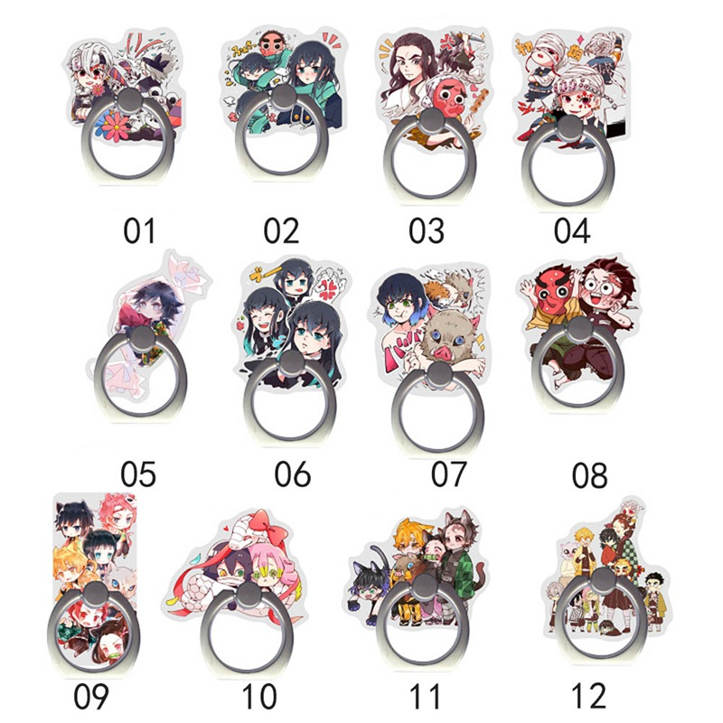 Acrylic Anime Demon Slayer Kimetsu No Yaiba Character Cute Mobile Phone Ring Bracket Finger Ring Holder For IPhone For Xiaomi