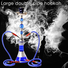 Middle Size Double Hose Glass Hookah Travel Shisha Pipe Set Chichas with Narghil