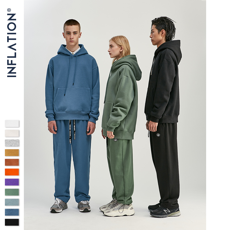 INFLATION 2019 Autumn Mens Thick Fleece Hoodies Hip Hop Pure Hoodies Thick Velvet Fabrics Winter Hoodies For Men Women 167W17 3