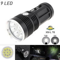 Waterproof Flashlights Lights Black 2700LM 9x XML T6 LED 3 Mode Outdoor Flash Lamp Torch for Hunting / Camping