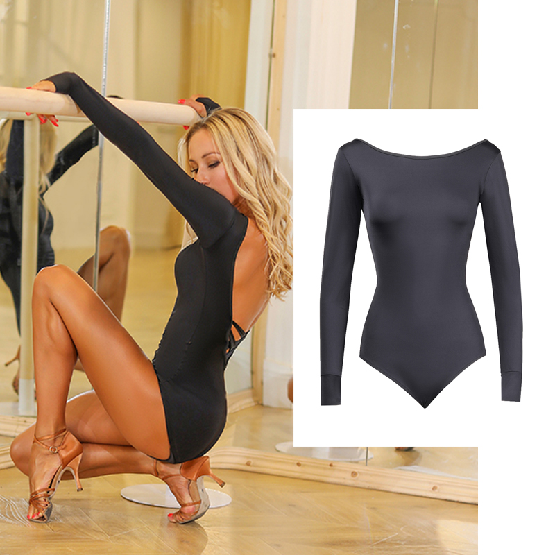 Latin Dance Tops Women Sexy Black Bodysuit Latin Dance Dress Adult Ballroom Latin Dance Competition Dresses Cha Cha Rumba Dance