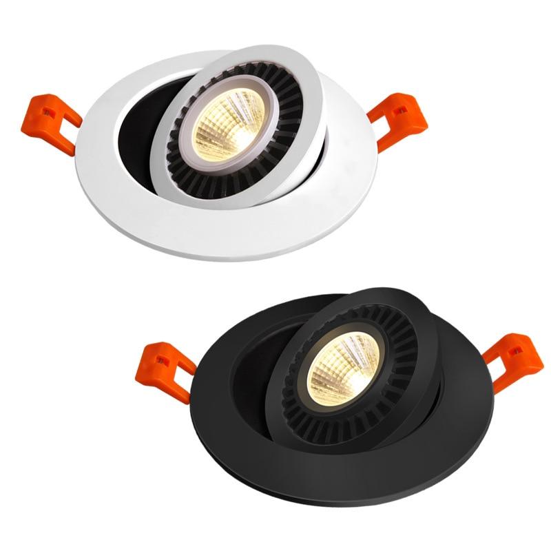 Qlteg pode ser escurecido led downlight 5w 7w 10 recesso lâmpada do teto 360 graus rotação luzes de ponto ac 110v 220 v interior lâmpada led 4000 k