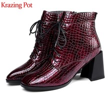 Krazing pot cow leather square toe high heels big size online superstar prints skin runway lace up gladiator Chelsea boots l1f3(China)