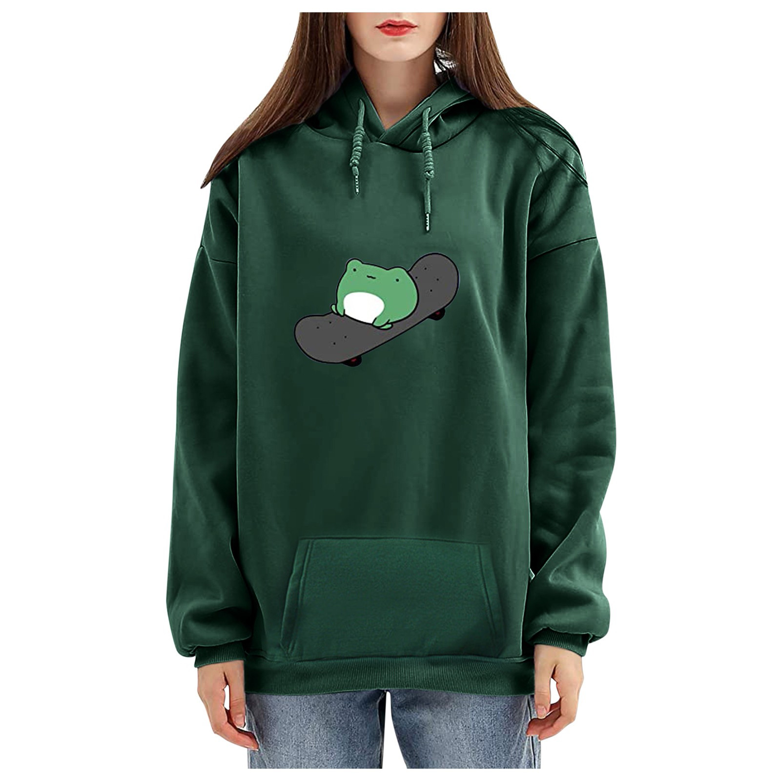 harajuku aesthetic bear anime hoodie women korean kawaii crewneck long sleeve oversized fall winter clothes kpop streetwear tops 13
