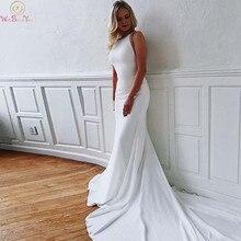 Simple Boho Mermaid Beach Wedding Dresses 2019 O-Neek Sleeveless Court Train Long Bridal Gowns Backless Crystal vestido de noiva
