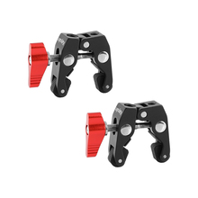 "Kayulin 2 Piece Super Crab Clamp With 1/4"" 20 & 3/8"" 16 Mounting Points (Red T handle) Photo Studio Kit"