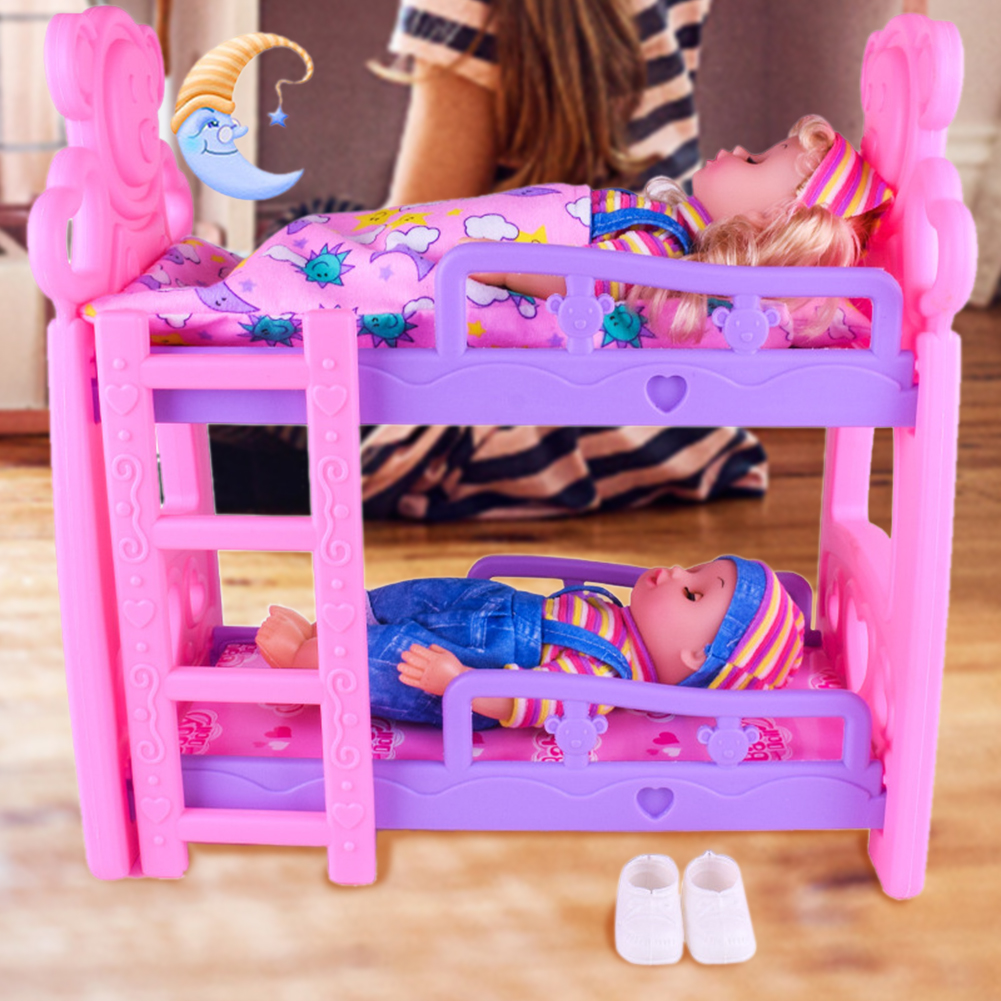Cute Hot Pink Dolls House Plastic Bunk Bed Play House Kids Toys Assembly Doll Furniture Accessories Toys For Children