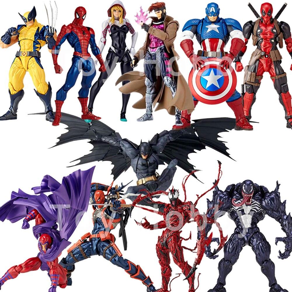 Marvel DC Yamaguchi Revoltech Gambit Deathstroke Wolverine Venom Captain America Batman Gwen Spider Man Magneto Action Figure