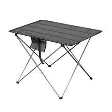 Alumínio leve mesa de pesca piquenique praia mesa dobrável ao ar livre portátil backpacking acampamento roll-up mesa dobrável computar