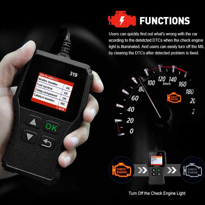 สีดำรถ Fault Scanner ABS SRS การวินิจฉัย Automove OBDⅡ CR319 เปิดตัวเครื่องมืออัตโนมัติ Creader OBDⅡ Scanner