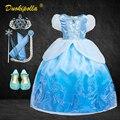 Рождественское платье Золушки, карнавальный костюм Эльзы на Хэллоуин, детвечерние синее платье принцессы для маленьких девочек, эксклюзив...