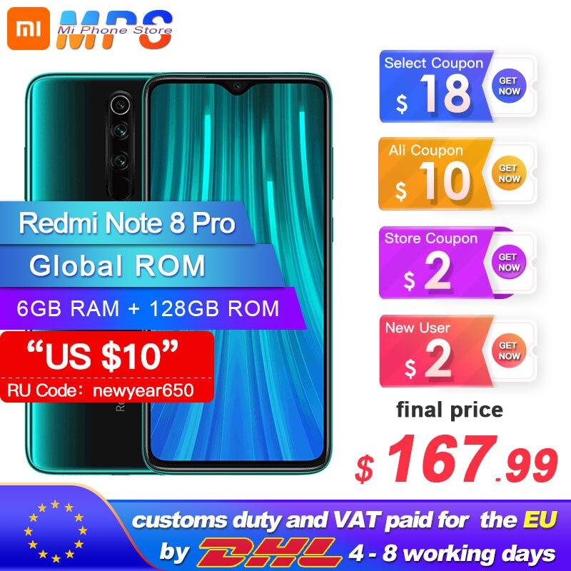 Global ROM Original Xiaomi Redmi Note 8 Pro 6GB 128GB MTK Helio G90T Smartphone 4500mAh 64MP Rear Camera  6.53