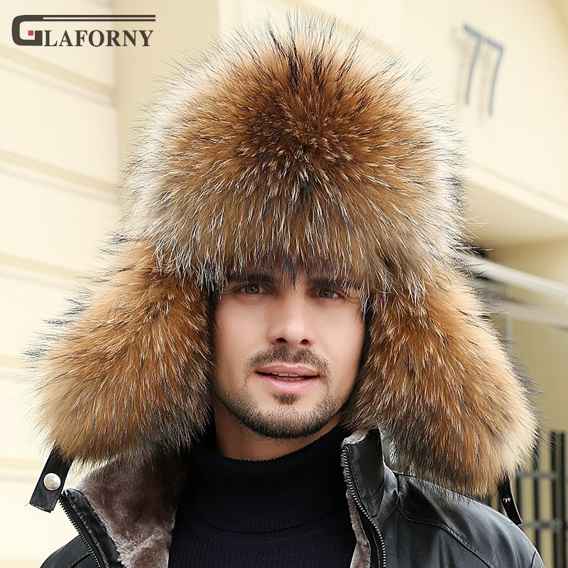2019 Glaforny Solid Dome Leifeng Hat Male Raccoon Fox Hat Winter Middle-aged Warm Thickened Fur Cotton Cap Men Winter