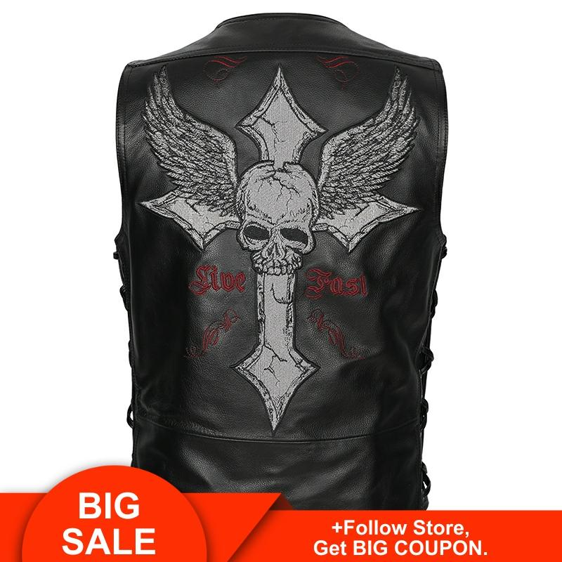 2020 Vintage Black Men Skulls Embroidery Biker's Leather Vest Plus Size XXXXL Genuine Cowhide Slim Fit Motorcycle Leather Vest