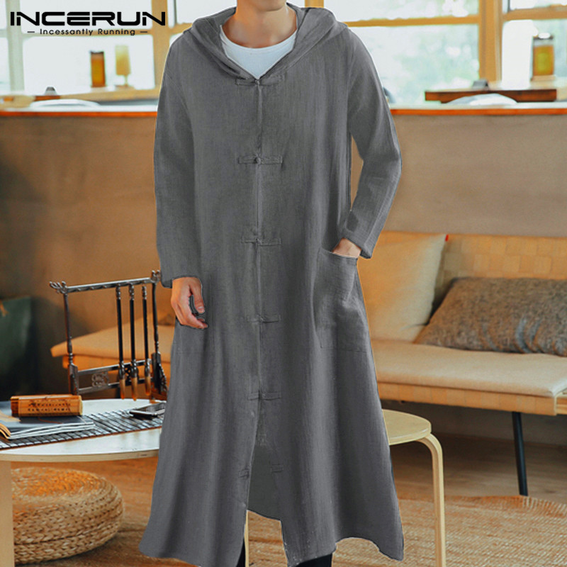 INCERUN Chinese Style Men Trench Coats Hooded Button Pockets Cotton Long Outerwear Hanfu Vintage Long Sleeve Jackets Men 2019