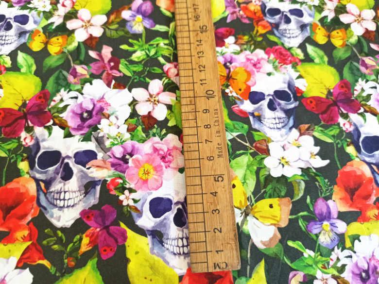 145Cm Lebar Tengkorak Bunga Dicetak Kain Katun untuk Bayi Anak Laki-laki Anak Perempuan Pakaian Hometextile Bantal Cover DIY