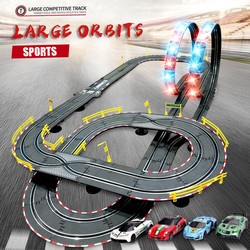 Children's Electric Track Racing Remote Control Car Double Battle Autorama Profissional Slot Car Circuit Race Track Railway Toys