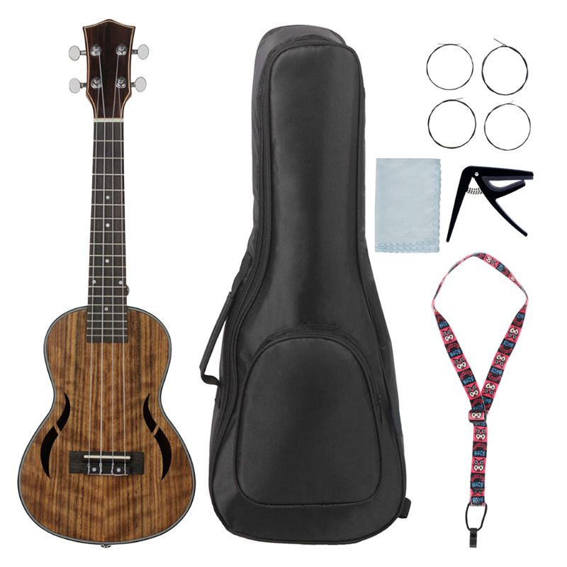 26 Inch Acoustic Tenor Ukulele Ukelele Uke Walnut Wood Nylon Strings Close Type Tuning Pegs Sting Instrument