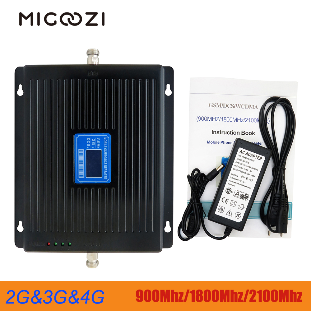 High Gain 75DB Tri Band Signal Repeater 900Mhz 1800Mhz 2100Mhz Cellphone LTE Cellular Booster Amplifier 2G 3G 4G GSM WCDMA DCS