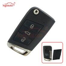 Kigoauto Flip key shell 3 button HU66 blade for VW Golf 7 volkswagen key case 2013 2014 car key cover replacement free shipping hu66 flip key blade for vw audi remote key 20pcs lot