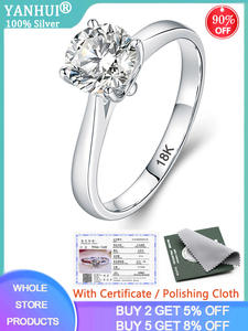 YANHUI Engagement-Rings Wedding-Band Gold-Ring 925-Jewelry Lab Diamond Silver White Women