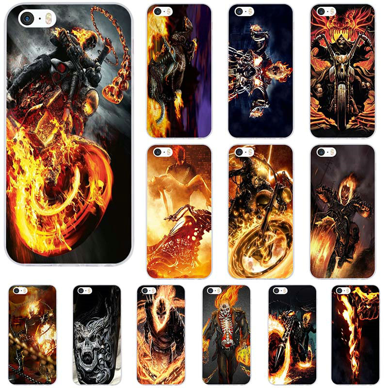 Soft TPU Silicone Mobile Phone <font><b>Case</b></font> for iPhone X XR XS Max 10 7 6 6s 8 Plus 4 4S 5 5S SE 5C Bags Cover Fashion Biker <font><b>Ghost</b></font> Rider image