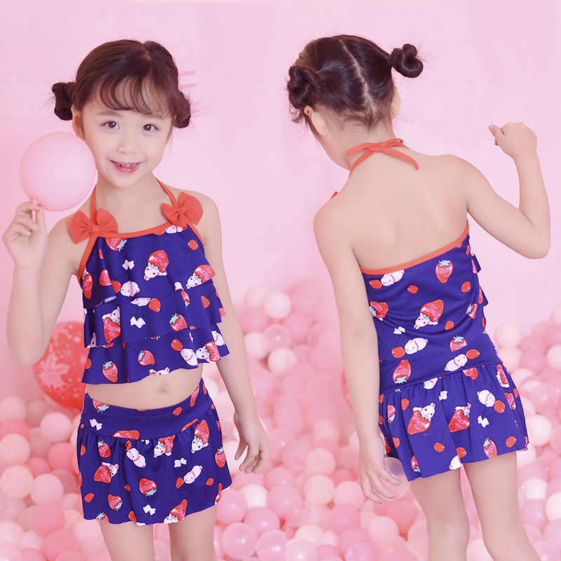 Children Two-piece Swimsuits GIRL'S Two-Piece Bikini Girls Cute Princess Bow Stripes Swimming Suit Wholesale