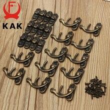 Gancho de cerrojo de candado de hierro bronce antiguo de 34x28mm de KAK 12 Uds para Mini joyero de madera con tornillos para muebles