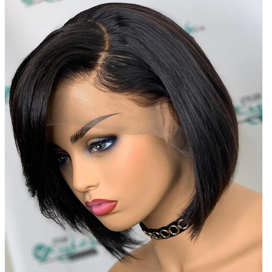 150 плотность глубокие боковые пряди Боб шелковистые прямые человеческие волосы 13x6 Синтетические волосы на кружеве парики с предварительно выщипанные волосы Волосы remy среднего соотношение - 2