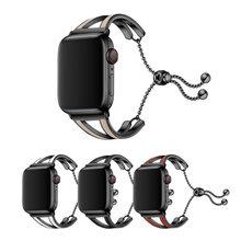 Correa de metal para Apple watch para mujer, banda de acero inoxidable de 40mm y 44mm para pulsera con correas iWatch de 38mm y 42mm series 3 4 5 se 6