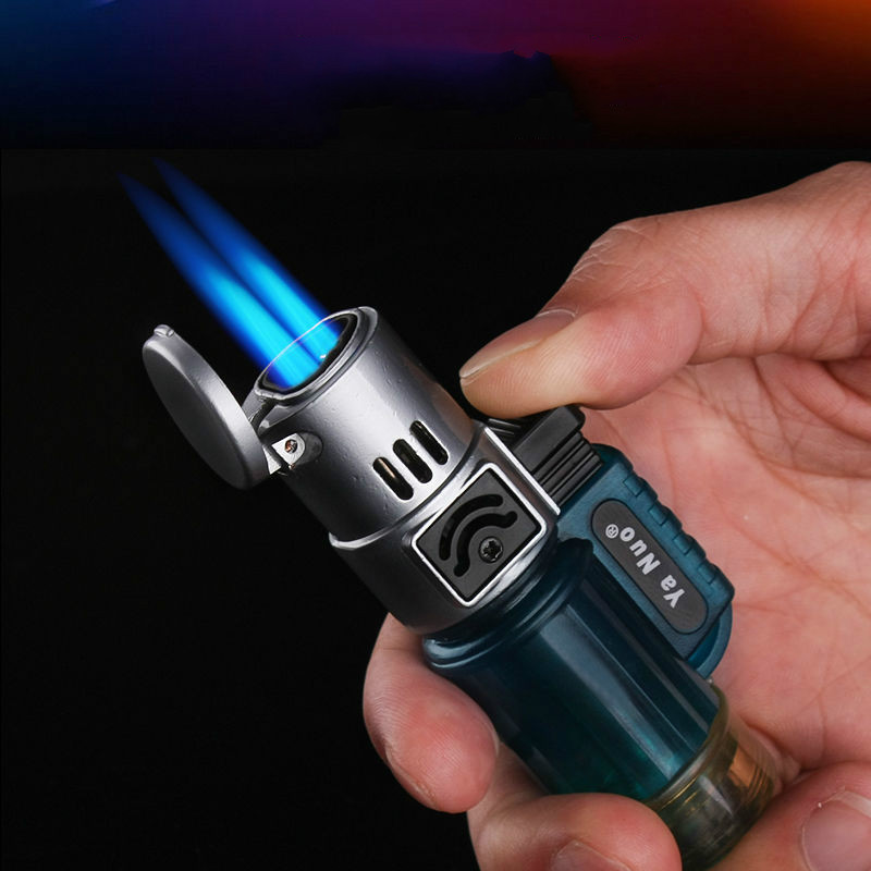 Creative Straight Large Fire Fire Spraying Gun Micro Welding Holder Inflatable Windproof Cigarette Lighter Cigar Kitchen Bakery