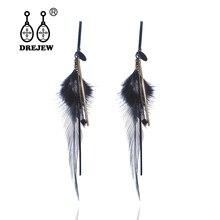DREJEW Bohemian Black Feather Statement Earrings 2019 925 Long Tassel Drop Sets for Women Wedding Jewelry HE594