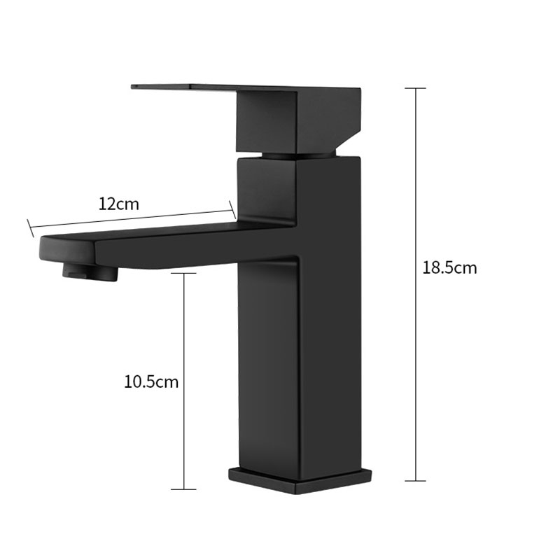 XUNSHINI Black Square Bathroom Sink Faucet Single Handle Basin Faucet Wash Tap Bathroom Toilet Deck Mounted