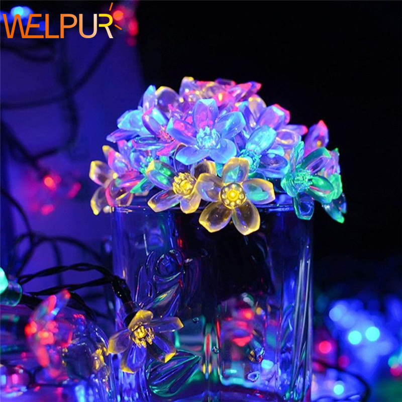 Fairy Lights Garland  Blossom Flower AA Battery Operated 2M 5M 10M Holiday Wedding Decoration LED Christmas Lights String