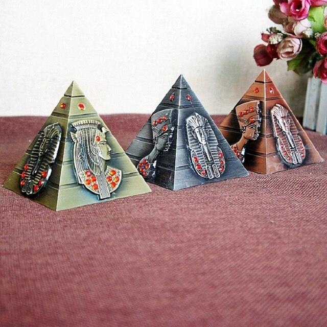 Egyptian Metal Pharaoh Khufu Pyramids Figurine Pyramid Building Statue Miniatures Home Office Desktop Decor Gift Souvenir 3