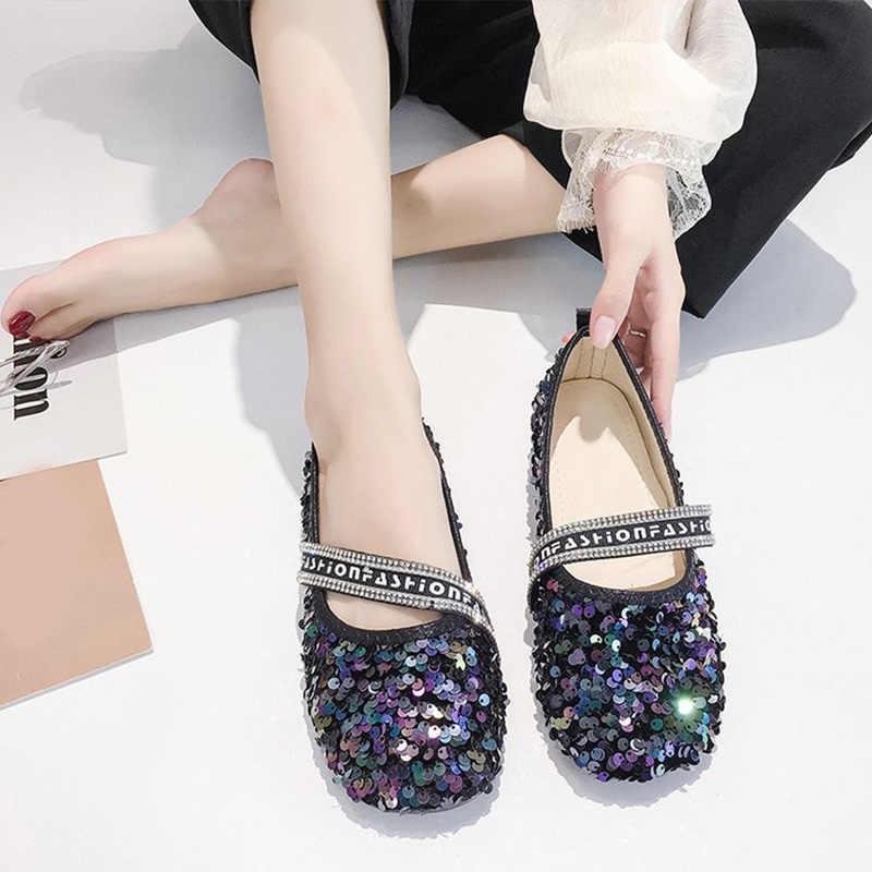 חדש נשים אפונה שטוחה נעלי בלינג אופנה ילדה מקרית נעל אחת גליטר רך בלעדי נוח גבירותיי להחליק על מוקסינים נשיים