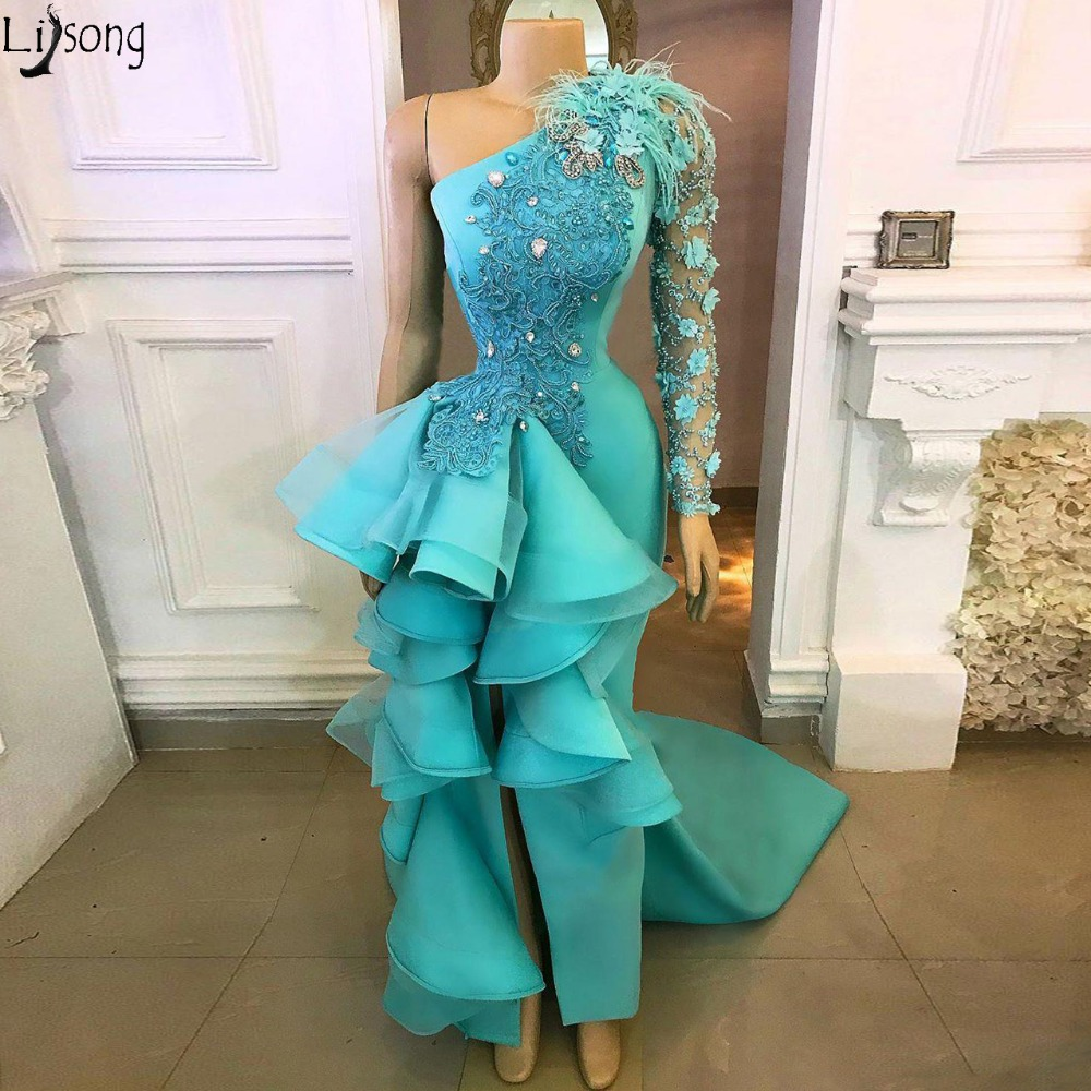 Turquoise Flower Lace Mermaid Evening Dresses Real Image Gonna Feather Crystal Side Split Prom Gowns Ruffles Formal Dresses