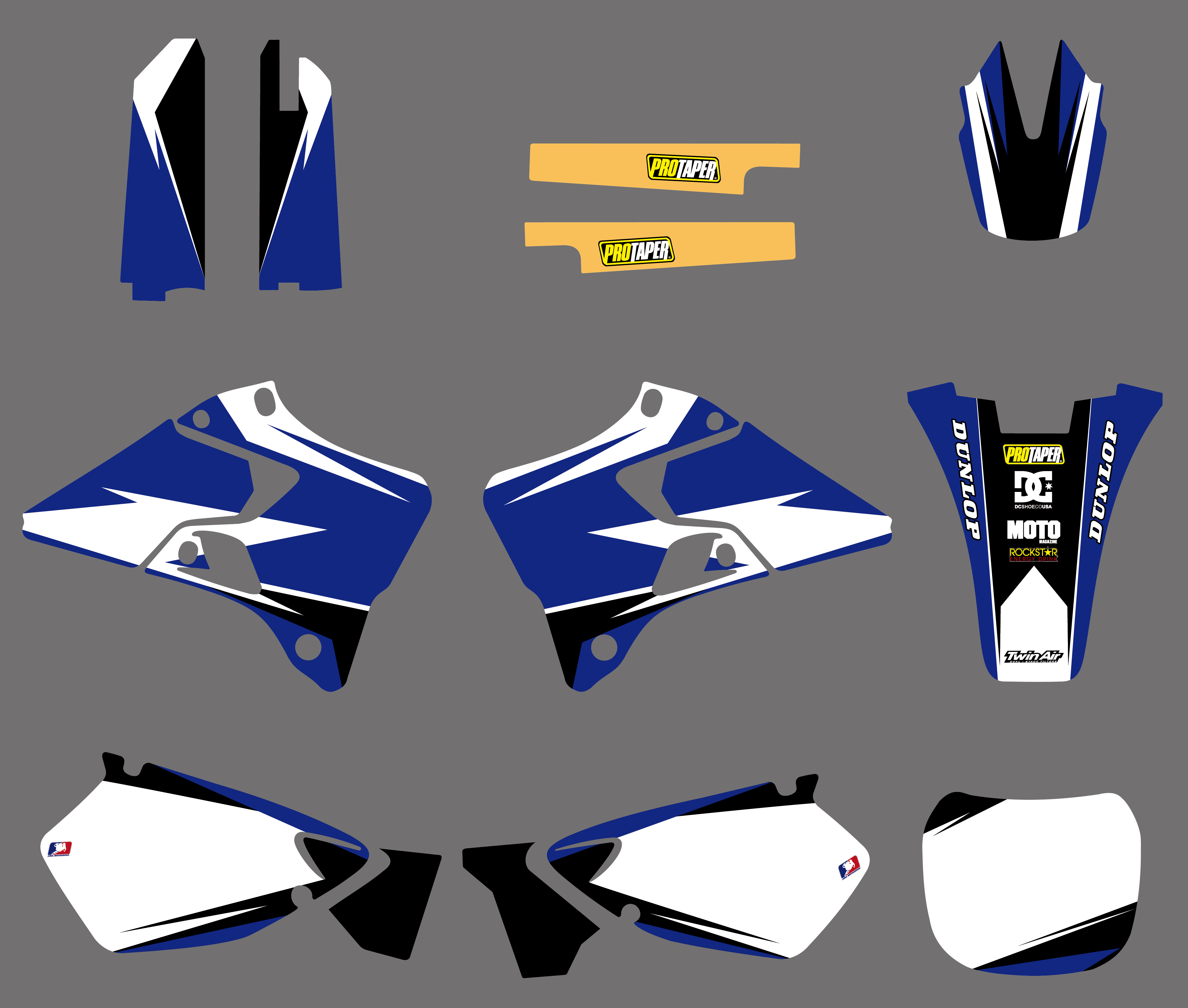 BLUE 2008-2014 YAMAHA YZ 125 250 GRAPHIC YZ125 YZ250 PRO CIRCUIT BLACK DECAL
