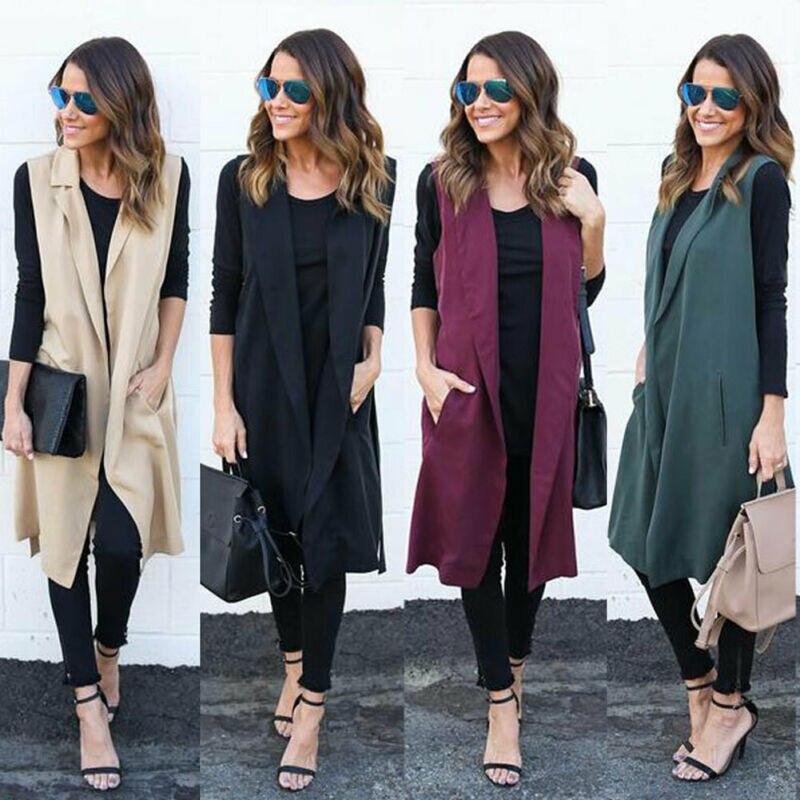 2019 Elegant Autumn Womens Cardigan Fashion Solid Color Open Front Sleeveless Long Vest Cardigan Coat Blazer Office Work Jacket