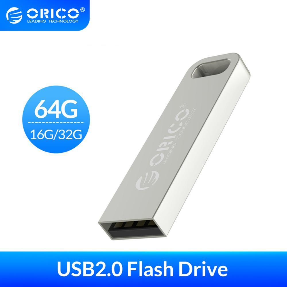 ORICO Metal USB Flash Drive 64GB 32GB 16GB Flash Memory Stick Pen Drive USB2.0 USB Stick Waterproof Metal Silver Memoria Cel Usb