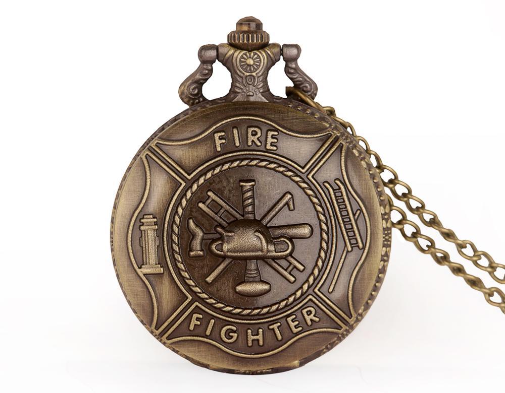 Vintage Bronze Pocket Watch Quartz Fob Steampunk Clock Firefighter Pocket Watch Gifts Men Pendant With Necklace Chain