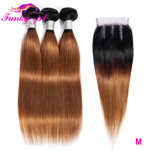 Funky Girl Brazilian Straight Human Hair Weave Bundles With 4*4 Lace Closure T1B/30 Non Remy Ombre Hair Bundles With Closure