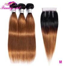 פאנקי ילדה ברזילאי ישר שיער טבעי Weave חבילות עם 4*4 סגירת תחרה T1B/30 שאינו רמי Ombre שיער חבילות עם סגירה