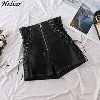 HELIAR женские черные кожаные шорты с перекрестной повязкой короткие брюки модные высокие уличные туфли из искусственной кожи тонкие сексуал...