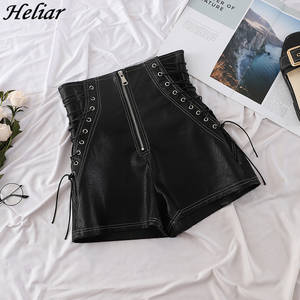 HELIAR Women Black Leather Shorts Cross Bandage Short Pants Fashion High Street Solid PU Shorts Slim Sexy Ripped