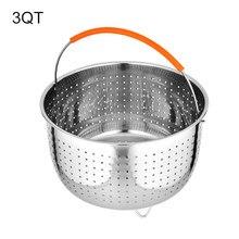 2 em 1 cozinha vapor cesta para fogão de pressão de aço inoxidável vegetal escorredor limpeza com alça silicone